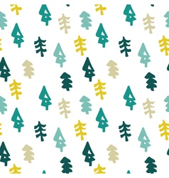 Seamless christmas tree pattern in flat style vector