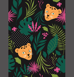 seamless pattern wit leopards on a black backgroun vector image