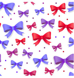 seamless pattern with bows gift kknots of ribbon vector image