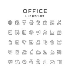 set line icons of office vector image