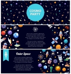 Set of flat design flyers with space icons and vector image