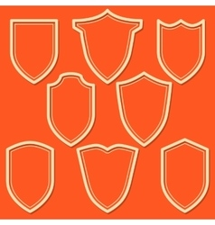 Set of white shield icons Outline security signs vector