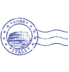 Shabby stamp with Colosseum - sights of Rom vector