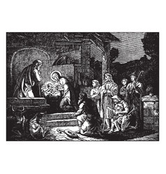 Shepherds arrive to worship bajesus vector