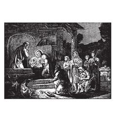 Shepherds arrive to worship the baby jesus vector