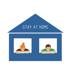 stay at home reading kids vector image