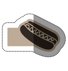 Sticker monochrome emblem with hot dog with sauce vector