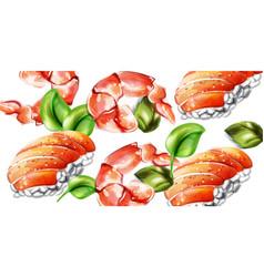 sushi watercolor pattern delicious texture vector image