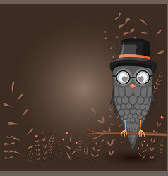 Template for text with cartoon bird owl in the vector