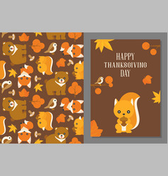Thanksgiving wild animal seamless pattern vector