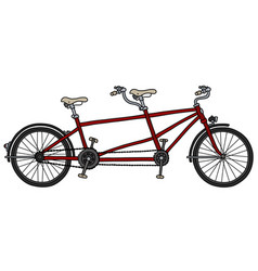 The red tandem bicycle vector