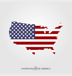 usa map flag in flat style on light background vector image