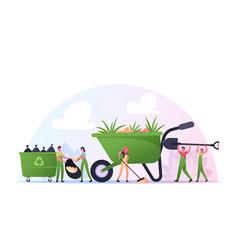 volunteer characters cleaning garbage planting vector image