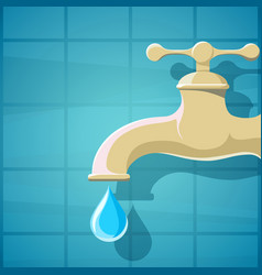 Water faucet with a drop of clean vector