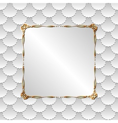 White background with golden frame vector
