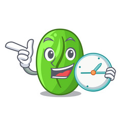 With clock green coffee beans in cartoon coffee vector