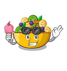 With ice cream cartoon bowl healthy fresh fruit vector