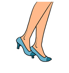 woman goes close-up feet in shoes vector image