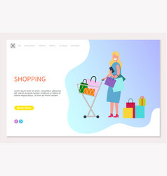 woman shopping and spending time web design vector image