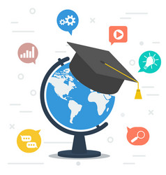 worldwide education globe with student hat at top vector image
