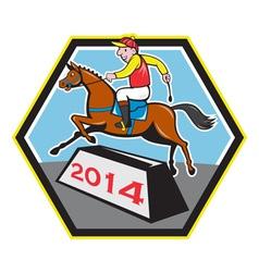 Year horse 2014 jockey jumping cartoon vector