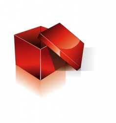 3d open red shipping box vector image vector image