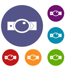 Belt with oval shaped buckle icons set vector