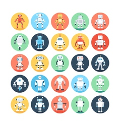 Robots Colored Icons 2 vector image