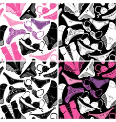Set of seamless patterns - Silhouettes of glamor vector image