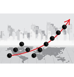 Business growing graph vector image