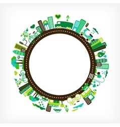 circle with green city vector image vector image