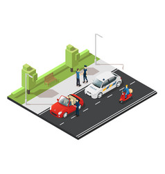 colorful isometric traffic concept vector image vector image