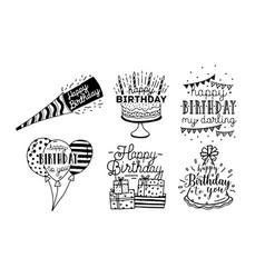 cute happy birthday greetings inscriptions design vector image vector image
