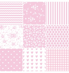 Set of abstract pink seamless patterns vector image vector image