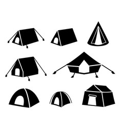 set of tent icons in silhouette style vector image vector image