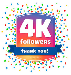 4000 followers thank you design card vector image vector image