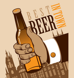banner with a human hand with a bottle of beer vector image vector image