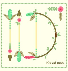Bow and arrows flat poster vector image vector image