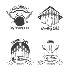 Bowling club emblem set vector image vector image