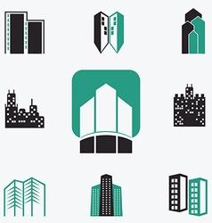 Buildings web icons set vector image