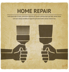 hand with trowel and brush home repair paint vector image