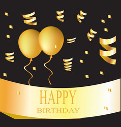 happy birthday card golden vector image