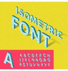 Isometric alphabet and grid font with geometric vector image