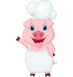 pig chef cartoon waving hand vector image vector image