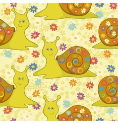 Seamless cartoon snail and flowers vector image vector image