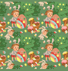 Seamless pattern boy smile hunting decorative vector