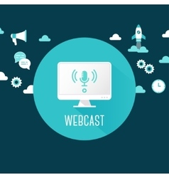Webcast or Live Stream Computer with vector image vector image
