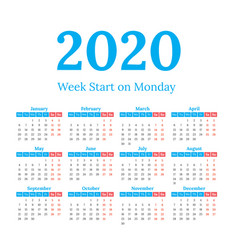 2020 calendar start on monday vector image