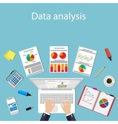 Businessman with laptop analyzes data vector