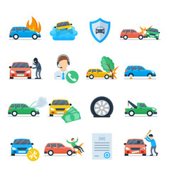 car insurance services icon set vector image vector image